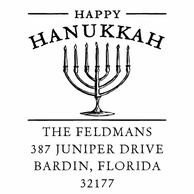 Menorah Personalized Holiday Address Stamper