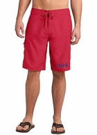 Mens Red Monogrammed Board Shorts