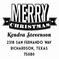Merry Christmas Personalized Holiday Address Stamper