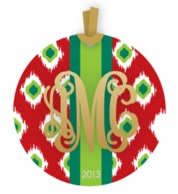 Metallic Monogram Holiday Ornament - CHOOSE YOUR PRINT!