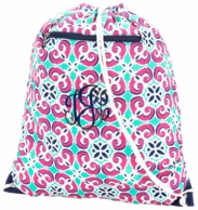 Mia Tile Monogrammed Drawstring Backpack