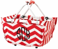 Mini Red Chevron Monogram Market Tote