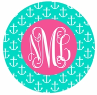 Mint Anchors Monogrammed Coasters