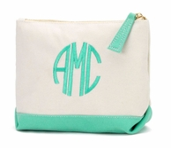 Mint Canvas Monogrammed Cosmetic Bag