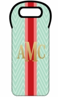 Mint Chevron Metallic Monogram Holiday Wine Tote