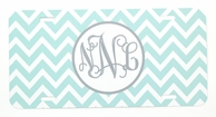 Light Blue Chevron Monogrammed Car Tag