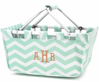 Mint Chevron Monogrammed Large Market Tote