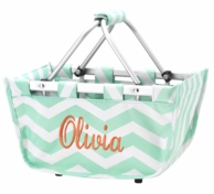 Mint Chevron Monogrammed Mini Market Basket Tote