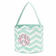 Mint Chevron Personalized Easter Bucket