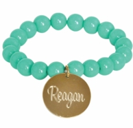 Mint Chloe Monogrammed Beaded Stretch Bracelet