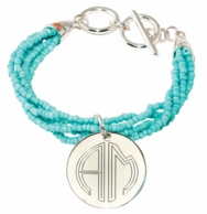 Mint Coastal Monogrammed Beaded Bracelet