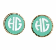 Mint Josie Engraved Post Earrings