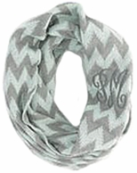 Mint & Gray Chevron Monogrammed KNIT Winter Infinity Scarf