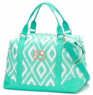 Mint Ikat Diamond Monogrammed Weekender Bag