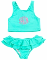 Mint Little Girls Monogrammed Swimsuit Set