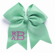 Mint Monogrammed Hair Bow