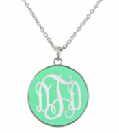 Mint Monogrammed Josie Necklace