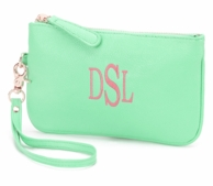 Mint Monogrammed Wristlet Clutch Purse