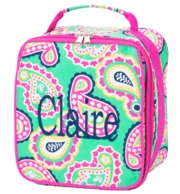 Mint Paisley Monogrammed Lunch Tote