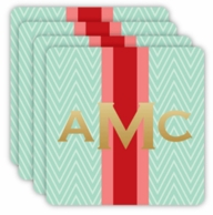 Mint Retro Chevron Metallic Monogram Coasters - SET OF 4