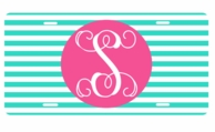 Mint Stripe Monogrammed Car Tag