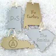 Mirrored State Personalized Christmas Ornament