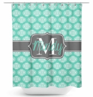 Mod Damask Monogrammed Shower Curtain