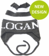 Modern Stripe Personalized Knit Hat with Earflaps