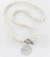 Monogram Genuine Freshwater Pearl Necklace - Gold Or Silver