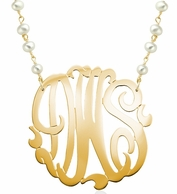 Monogram Pearl Chain Custom  Necklace
