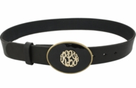 Monogrammed Black Enamel Belt Buckle