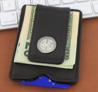 Monogrammed Black Leather Money Clip and Card Holder