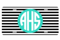 Monogrammed Black Stripes Car Tag