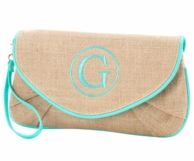 Monogrammed Burlap Wristlet Clutch with Mint Trim