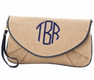 Monogrammed Burlap Wristlet Clutch with Navy Trim