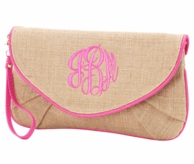 Monogrammed Burlap Wristlet Clutch with Pink Trim