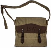 Monogrammed Canvas & Leather Messenger Bag