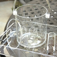 Monogrammed Clear Acrylic Ice Bucket & Tongs