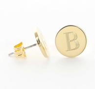 Monogrammed Gold Plated Round Post Earrings