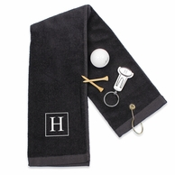 Monogrammed Golf Towel And Key Ring with Ball Marker Set