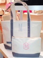 Monogrammed Grey Canvas Tote & Cosmetic Bag Set