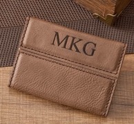 Monogrammed Leather Business Card Case