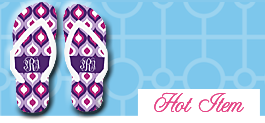 Ogee Print Monogrammed Flip Flops - CHOOSE YOUR PRINT!