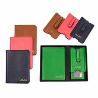 Monogrammed Leather Luggage Tag & Passport Holder Set