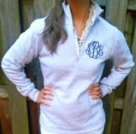 Monogrammed Light Gray 1/4 Zip Sweatshirt