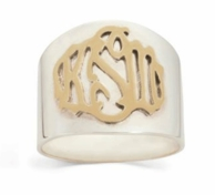 Monogrammed Palais Cigar Band Ring - SILVER OR GOLD