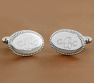 Monogrammed Silver Braid Edge Cuff Links