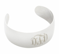 Monogrammed Silver Plated Cuff Bracelet