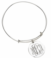 Monogrammed Silver Plated Round Charm Bracelet