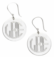 Monogrammed Silver Plated Round French Wire Earrings